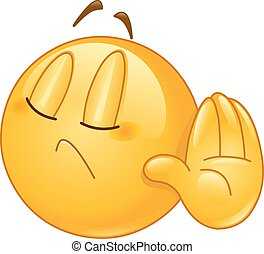 Emoticon showing deny or refuse hand gesture