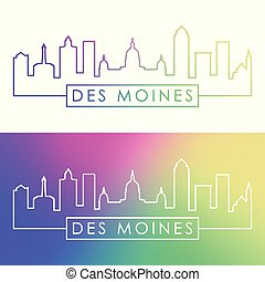 Des Moines city skyline. Colorful linear style.