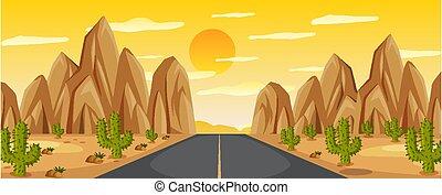 Desert road landscape at sunset