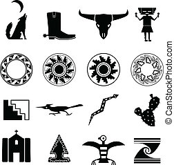 Set of silhouettes of objects from the Southwestern desert of the U.S.