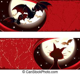 Detailed grunge Halloween vector banners #3