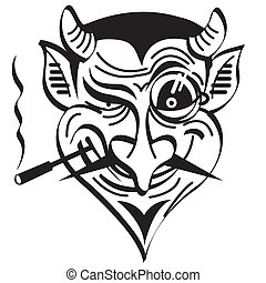 Devil or Satan smoking a cigar evil clip art graphic in retro or vintage 1930s, 1940s or 1950s cartoon style for Halloween.