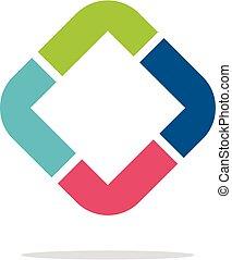 Diamond Shape Colorful L or R Letter Logo Illustration Design. Vector EPS 10.