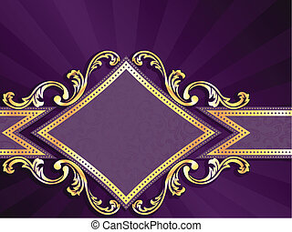 stylish horizontal banner with diamond shape and metallic swirls. Graphics are grouped and in several layers for easy editing. The file can be scaled to any size.