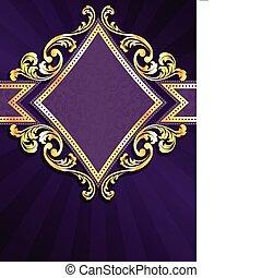 diamond shaped purple & gold banner