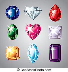 precious diamonds and gemstones colorful vector set