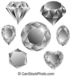 diamonds collection against white background, abstract vector art illustration