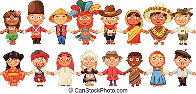 Different culture standing together holding hands. Brazil, Englishman, Chinese, Japanese, American, Mexican, German, Indian, Scotsman, Arab, Canadian, African, Russian, Frenchman, Netherlander, Tahiti