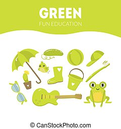 Different Objects in Green Color, Fun Educational Game for Preschool Kids Vector Illustration