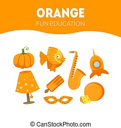 Different Objects in Orange Color, Fun Educational Game for Preschool Kids Vector Illustration