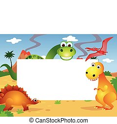 dinosaur and white blank space