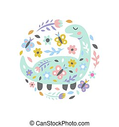 Dinosaur with flowers and butterflies on white. Childish cute print for card and poster. Vector Illustration