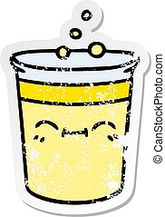distressed sticker of a quirky hand drawn cartoon cup of lemonade