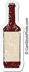 distressed sticker of a quirky hand drawn cartoon wine bottle