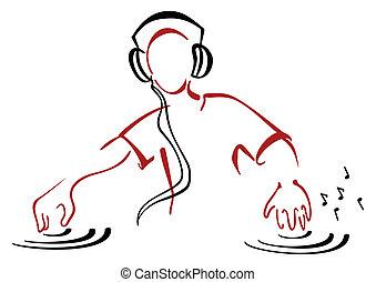 Illustration of DJ mixing music isolated on white