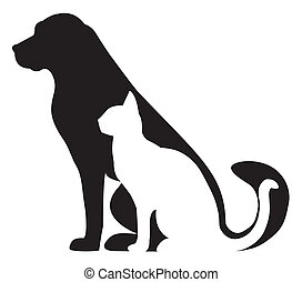 Dog and cat silhouettes composition