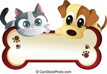 A vector illustration of a dog and a cat banner