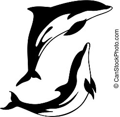 Abstract vector illustration of dolphin