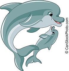 Dolphin mother and baby isolated on white background