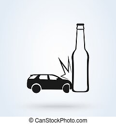 Don't drive drunk. Car Accident White Background With