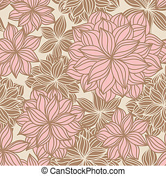 Hand-drawn floral seamless pattern in vintage tones