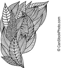 Doodle leafs black and white isolated. Vector decorative objects for design
