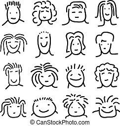doodle people faces set vector illustration