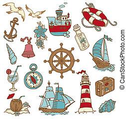 Doodle Sea elements - for your design, scrapbook in vector