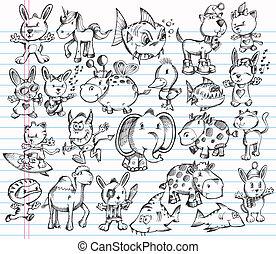 Doodle Sketch Animal Vector Design set