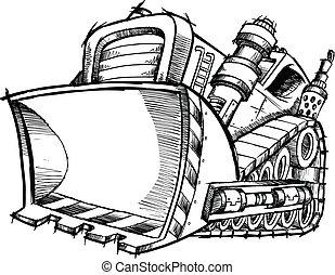 Doodle Sketch Bulldozer Vector Art