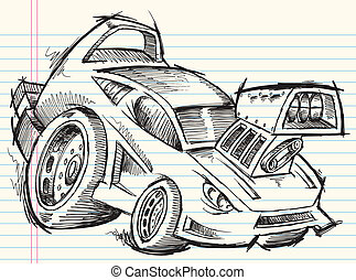 Doodle Sketch Street Car Vector