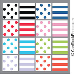 dots and stripes in lot of colours