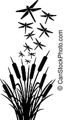 dragonfly and reeds vector design