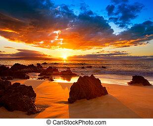 Dramatic Vibrant Sunset in Hawaii