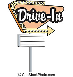 Drive in sign, car hop or movie marqee clip art graphic in 1950s or fifties style.