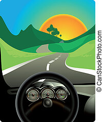 An illustration of a car driving on a long and winding road.