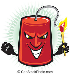 Dynamite cartoon character preparing to light his own fuse
