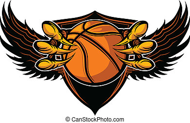 Graphic Vector Image of a Eagle Claws or Talons Holding a Basketball