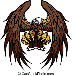 Flying Eagle with Wings and Talons Graphic Mascot Vector Image