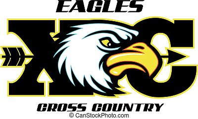 eagles cross country design with mascot head