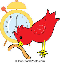 Red bird catching a worm with an alarm clock in the background
