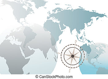 ===Earth globe world map compass abstract white