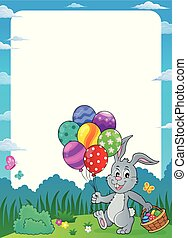 Easter bunny with balloons theme frame 1