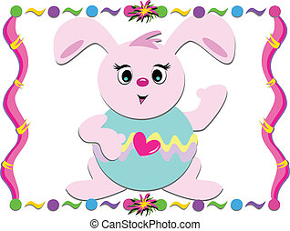 Easter Bunny with Colorful Frame