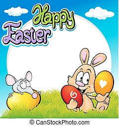 easter frame with bunny, mouse and