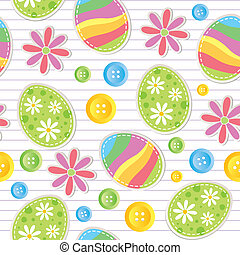easter seamless pattern with stickers and sewing buttons