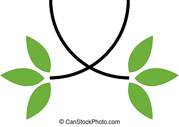 Eco friendly business logo with a twig and green leaves