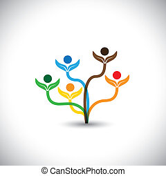 eco vector icon - family tree and teamwork concept. This graphic illustration also represents team effort, unity, togetherness, school children, eco concept, nature conservation, etc