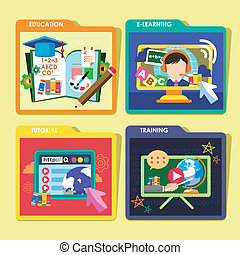 education concepts icons set in flat design