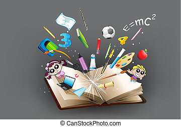 illustration of school object poping out from open book